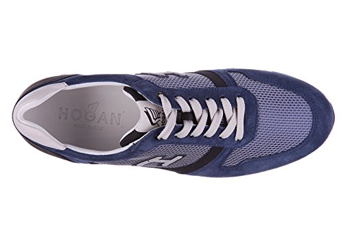 Hogan Mens Shoes Suede Trainers Sneakers h198 Slash h Flock Blu 88qJbbV