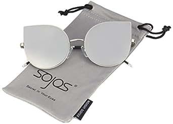 SojoS Cat Eye Mirrored Flat Lenses Ultra Thin Light Metal Frame Women Sunglasses SJ1022 With Silver Lens