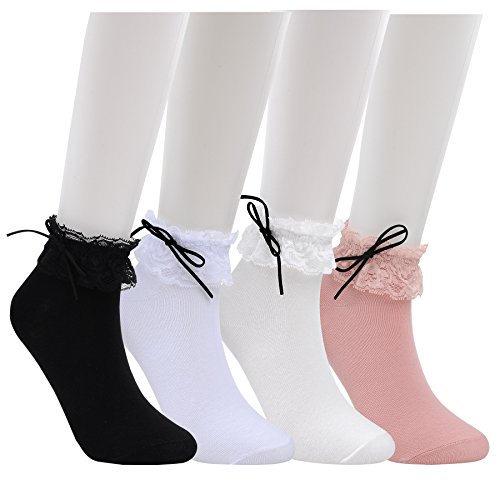 WEILAI SOCKS Women 4 Pack Vintage Ruffle Frilly Cute Lace Ankle Top Dress Socks (Color 1)