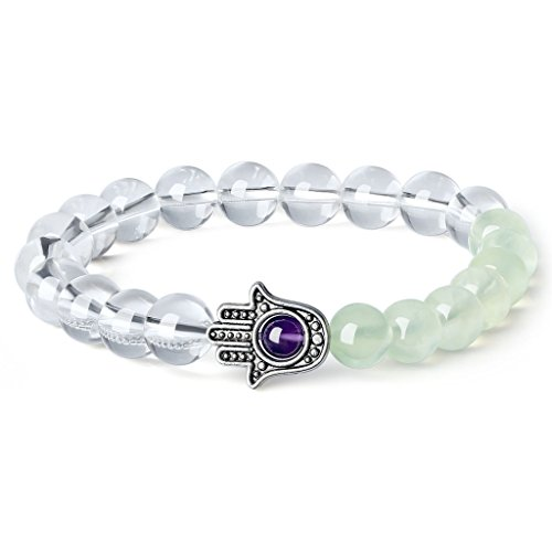 AmorWing Prehnite Clear Quartz Hamsa Hand Protection Womens (Evil Eye Jewelry Meaning)