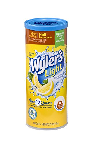 Wyler's Light Canister Drink Mix - Half Iced Tea Half Lemonade Water Powder Enhancer Canister (6 Canisters that make 12 Quarts Each) ()