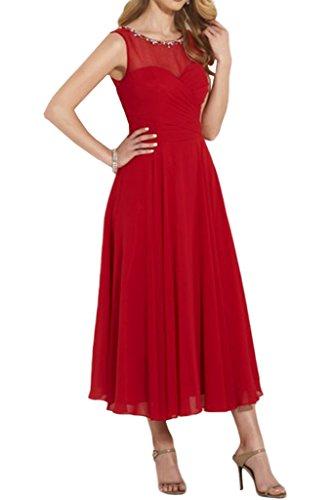 La_Marie Braut Elegant Rot Chiffon Wadenlang Kurz Damen Abendkleider Brautmutterkleider Partykleider A-linie Rot XFT1FJEcT