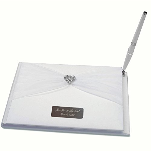 Personalized and Engraved Wedding Guest Book with Pen Rhinestone Heart Sheer, (Personalized Wedding Guest Book)