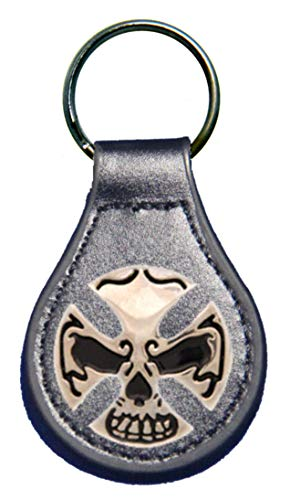 Skull Fob Key (Skull and Crossbones leather key fob or keychain Black)
