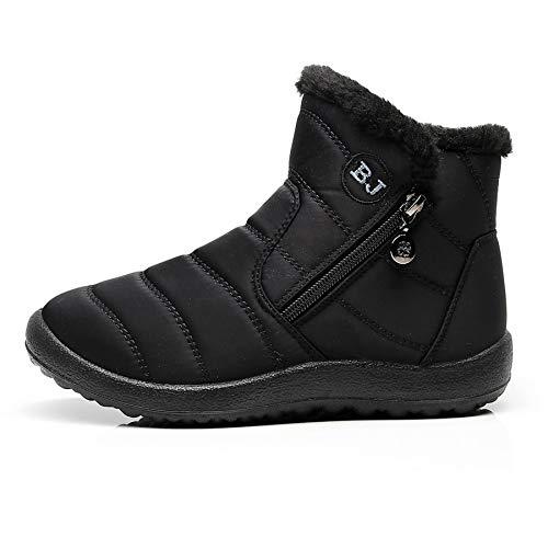 Outdoor On Snow Lining Boots Waterproof Comfort Booties xwm282 Orangetime Winter Black Warm Sneakers Fur Slip Women's Ankle qEw8gxnvR