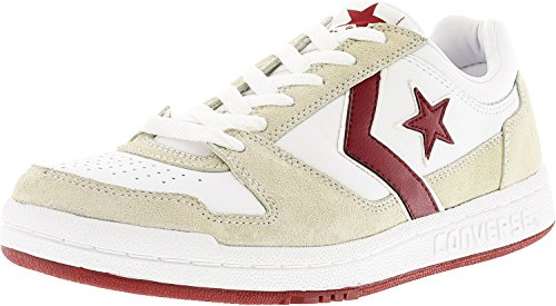 Converse Men's Point Man Ox White/Red Ankle-High Fabric Fashion Sneaker - 9M