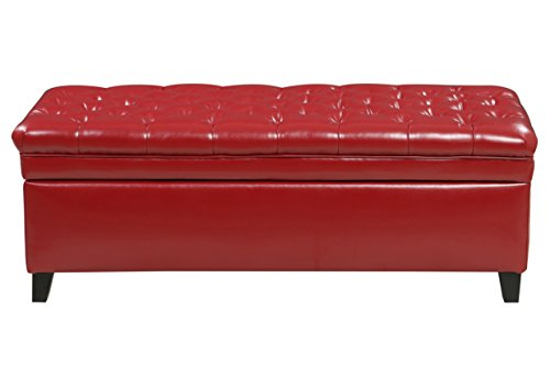 Storage Ottoman Bench Modern Faux Leather Rectangle Eco Friendly by Coly