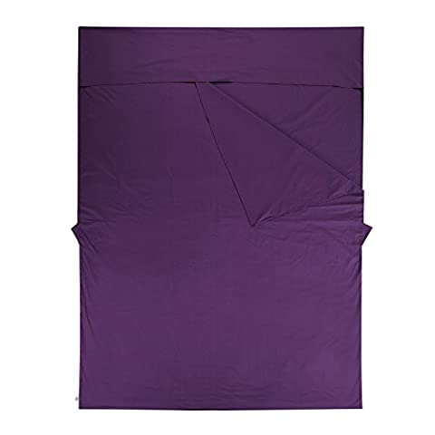 """Weanas 2 Person Lightweight Warm Roomy Combed Cotton Sleeping Bag Liner, Double Travel Sheet Sleep Sack, Rectangular 86.6"""" X 63"""", Comfortable, for Travel, Youth Hostels, Picnic (Purple)"""