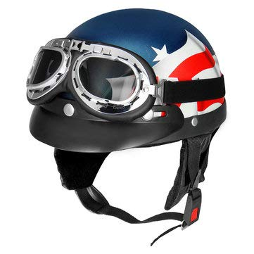 Motorcycle Motorcycle Helmet - Retro USA Flag Motorcycle Half Face Helmet Biker Scooter With Sun Visor Goggles Cafe Racer -