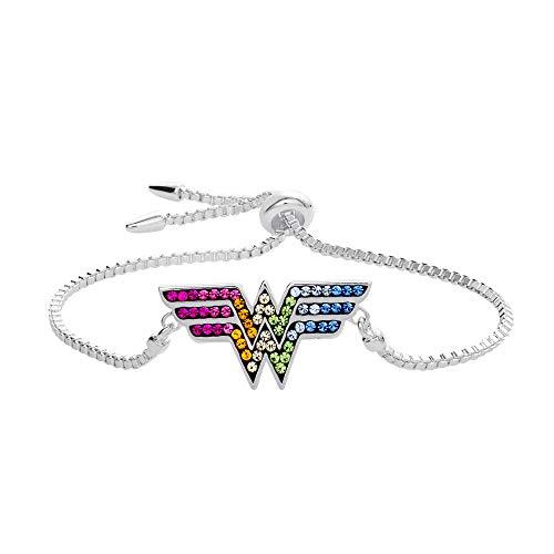 DC Comics Wonder Woman Jewelry, Silver Plated Rainbow Crystal Lariat Bracelet ()