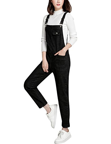 Lentta Women's Loose Baggy Denim Bib Harem Overalls Romp (Small, Black)