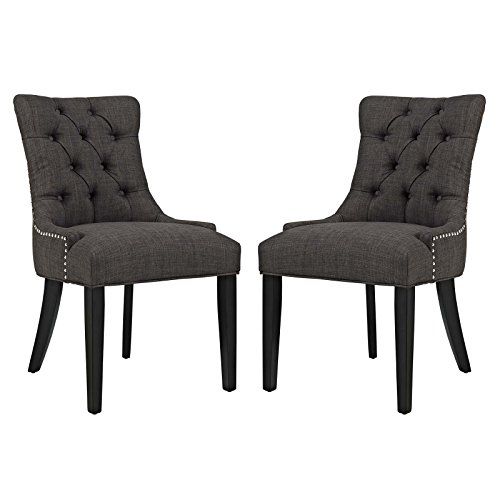 Modway Regent Button-Tufted Upholstered Fabric Dining Side Chairs With Nailhead Trim in Brown - Set of 2