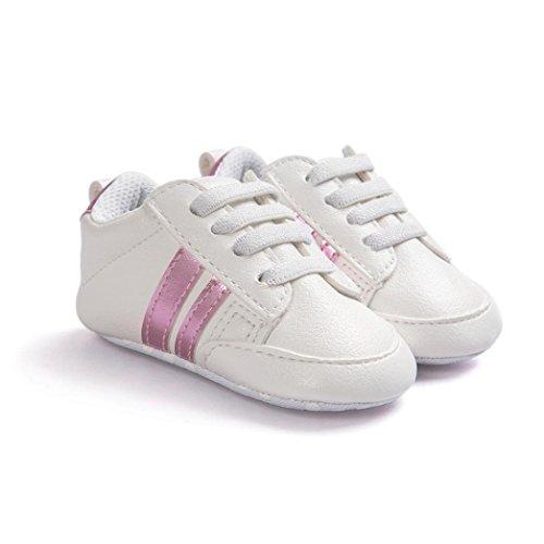 Hunpta Baby Schuhe Soft Bottom Anti-Rutsch Leder Sport Schuh für Kleinkind Kleinkind Jungen Rosa