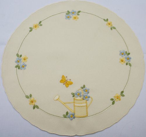 - Linen doily, with Watering Can in Soft Yellow with Yellow and Blue Blossoms