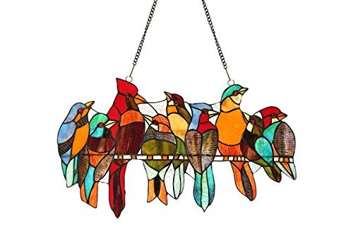 Chloe Lighting Kuno Tiffany-Glass Window Panel 21.5X13,Black,One - Glass Stained Songbirds