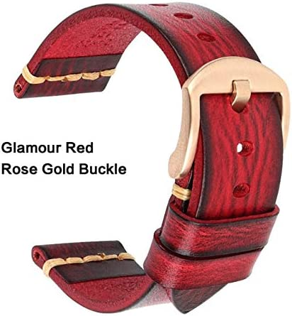 TGBZ ユニバーサル時計手作り時計バンド20ミリメートル21ミリメートル22ミリメートル23ミリメートル24ミリメートルレザー腕時計バンド (Band Color : Red Rose Gold, Band Width : 21mm)