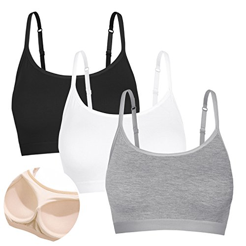 Cami Top Sports Bra Running Lingerie Vest Tank Shirt 3 Pack Black White Grey