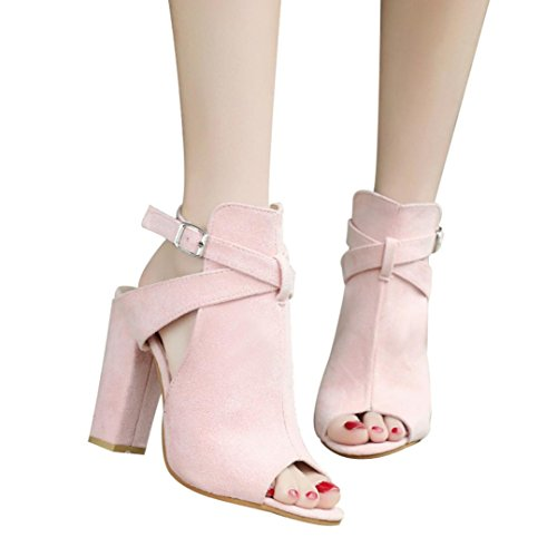 vermers Clearance Deals Women High Heeled Shoes Fashion Solid Flock Peep Toe Wedges Hasp Sandals(US:7.5, ()