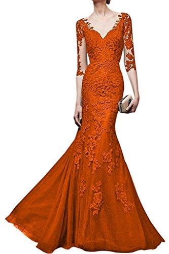 Spitze ausschnitt Orange Partykleider Orange Braut Langes V Festlichkleider Abendkleider La Etuikleider mia Damen awqptfpH