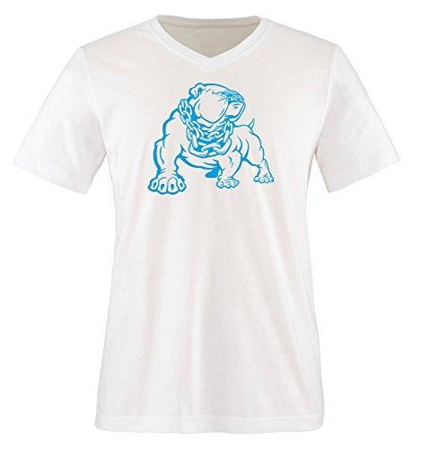 Bulldog V-neck (Comedy Shirts - BULLDOG - men V-Neck T-Shirt - white / blue size M)