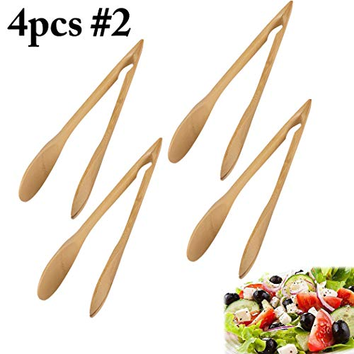 JUSTDOLIFE Food Tongs Multifunctional Bamboo Salad Tongs Food Serving Tongs