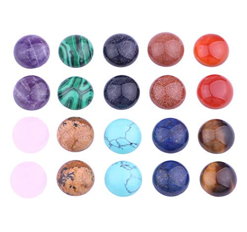 20pcs Natural Gemstone 12mm Round Cabochon Cameo Beads Crystal Agate Natural Stone for Jewelry Making