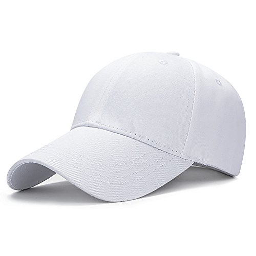 Ball Cap White (Glamorstar Classic Unisex Baseball Hats Cotton Ball Cap Trucker Hat White)