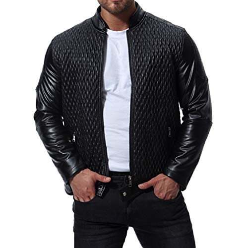 Pu Leather Oversize 2 Stand Solid Zips Collar EnergyMen with Thickening Jacket 7q1xwag