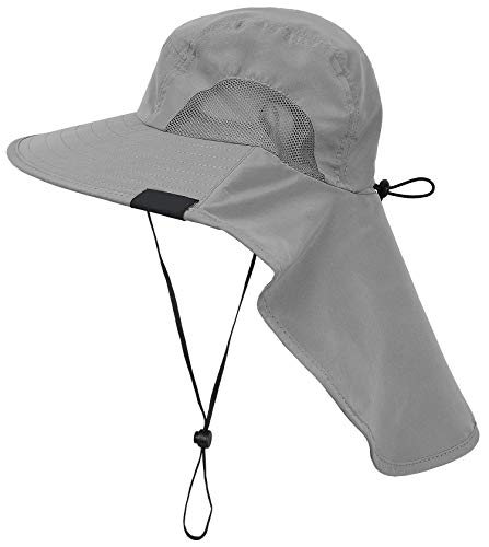 Tirrinia Outdoor Sun Protection Fishing Cap with Neck Flap, Wide Brim Sun Hat for Travel Camping Hiking Hunting Boating Safari Cap with Adjustable Drawstring, Grey