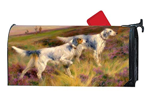 Decorative Magnetic Mailbox Cover, Custom Home Garden Mailbox Wrap with Animals Design, Standard Sized 6.5 x 19 inches - Smart English Setter Meadow