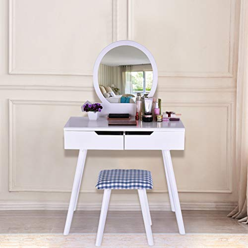 Sonmer Vanity Set with Mirror, Cushioned Stool, Storage Shelves, Drawers Dividers ,3 Style Optional, Shipped from US - Two Day Shipping (#2, White) by Sonmer (Image #4)