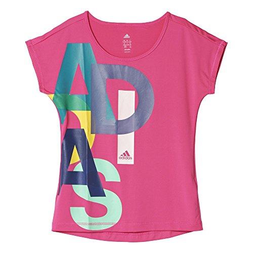 adidas Mädchen T-shirt YG W F LOGO TEE, Rosa/Blau/Weiβ, 140, 4055343529288