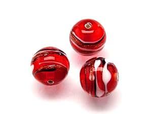1pc Checa Cristal Lampwork cuentas redondas 12mm Ruby decorada Negro, Aventurin y rayas blancas