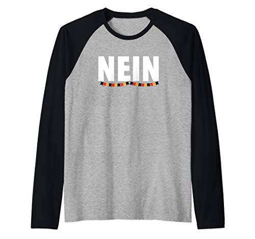 Nein No in German Funny Saying with Germanic Flag Garland Raglan Baseball Tee