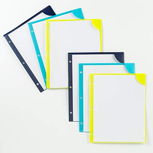 Avery Corner Lock Plastic Folders, 3-Hole Punched Plastic Sleeves, 20-Sheet Capacity, 3 Assorted Colors (2 ea.), 6 Folders (72260) ()