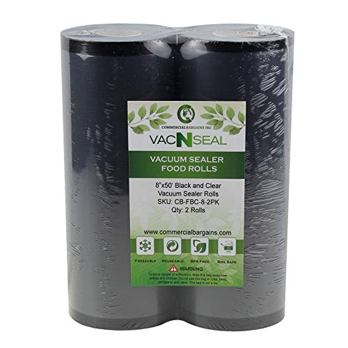 2 Large Commercial Bargains 8″ x 50′ Black And Clear Vacuum Food Sealer Saver Rolls Bags Freezer