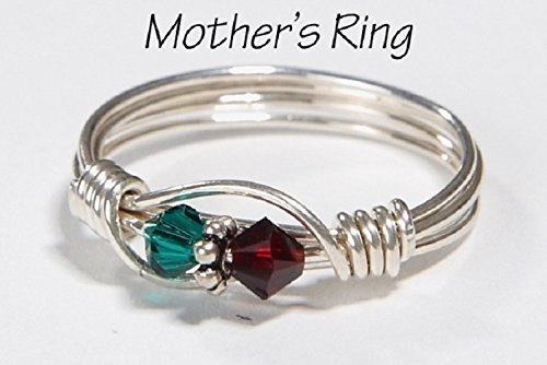(2 Stone Mother's Birthstone Ring: Personalized Sterling Silver Mom's Multistone Family Ring. Two Swarovski Crystals. Christmas, Mother's Day)