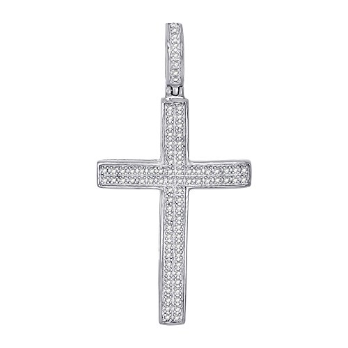 OMEGA JEWELLERY 1/4 Ct Round Cut Natural Diamond Sterling Silver Cross Pendant Unisex Pave Charm ()