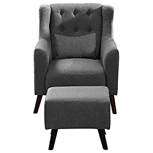 WarmieHomy Linen Fabric Armchair Buttoned Wing Back Occasional Accent Chair with Footstool for Bedroom Living Room…