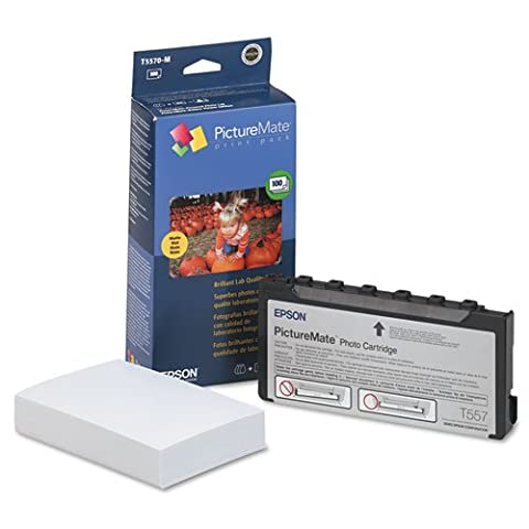 Epson - PictureMate Ink Cartridge/Paper Combo Print Pack w/100 Matte 4 x 6 Sheets T5570-M (DMi PK (Epson Picturemate T5570 Ink)