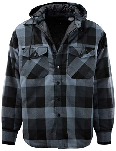 Mens Button Down Flannel Jackets with Detachable Hoodie (Many Patterns and Styles to Choose from) (4XL, 3-Charcoal)