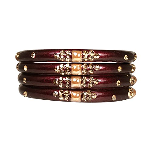 NMII 5 Color Designer Preet Kada Bangles/Kada Studded With Shining Stones Beautiful Glass Kada Set of 4 Handmade for Women & Girls on Traditional & Wedding Occasions by NMII