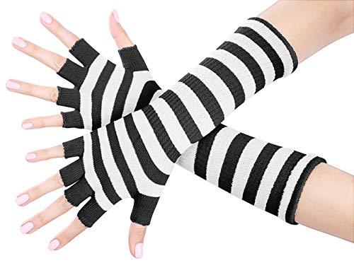 Spandex Striped Gloves - Shades Ladies 16 Inch Fingerless Gloves (Black and White)