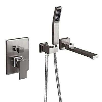 KunMai Wall Mounted Swivel Tub Filler Faucet with Hand Shower in Solid Black/Chrome