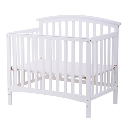 Hardwood Drop Side Crib (Costzon Baby Convertible Crib Toddler Play Center Bed Nursery Station (White))
