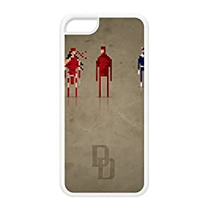 8Bit - Marvel Daredevil White Silicon Rubber Case for iPhone 5C by DevilleArt + FREE Crystal Clear Screen Protector