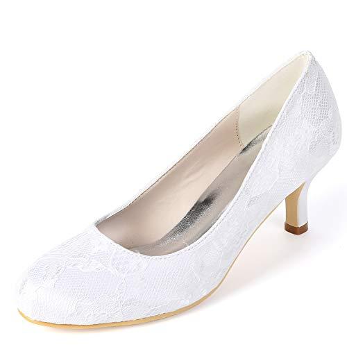A White Boda Verano Satén Del De Hechos Redondo Nupcial Fy119 6cm yc Mujeres L Primavera Altos Tacones Las Mano Zapatos qtF0twH