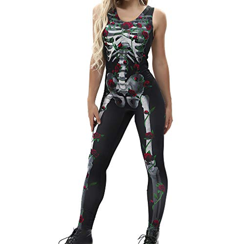 Skull Combinaisons Cosplay Costumes Sexy sans Femmes Bone Squelette Gothique Halloween 3D Manches H Party Halloween Crystal Romper Body Mxssi x8I7qw