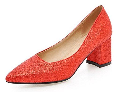 Escarpins Aisun Bout Femme Rouge Enfiler Paillettes Sexy Pointu à rrS0q