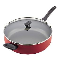 Farberware 21982 Dishwasher Safe Nonstick Aluminum Covered Jumbo Cooker with Helper Handle, 6 quart, Red